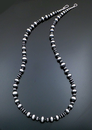 "Marilyn Platero (Navajo) - 36"" Mixed Burnished Sterling Silver Bead Necklace #39481 $600.00"