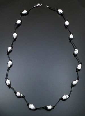 "Zina - 37"" Knotted Baroque Pearl Sterling Silver & Leather Necklace #39590 $675.00"