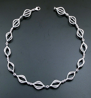 "Zina - 17"" Marquis Pod Sterling Silver Full Link Necklace #39598 $525.00"
