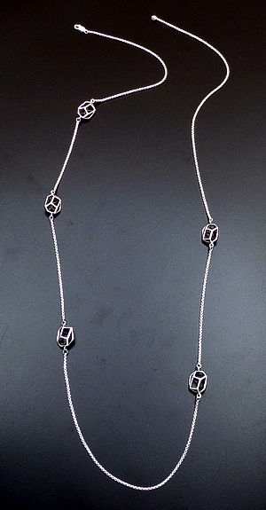 "Zina - 34"" Prism 3D Bead & Chain Sterling Silver Necklace #39607 $450.00"