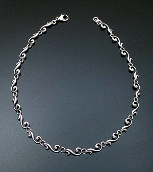 "Zina - 17"" Swirl Sterling Silver Full Link Necklace #39611 $450.00"