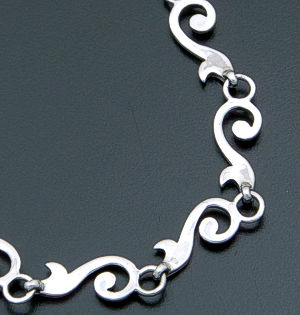 "Zina - 17"" Swirl Sterling Silver Full Link Necklace #39611 $275.00"