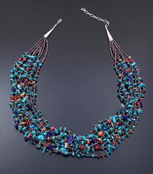 "Navajo - 21"" Eight Strand Turquoise, Multistone, & Shell Heishi Necklace #39696 $550.00"