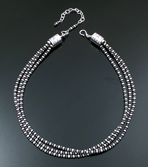 "Marilyn Platero & Geneva Apachito (Navajo) - 18"" to 21.5"" Triple Strand Mixed 4mm Burnished Sterling Silver Bead Necklace #40170 $375.00"