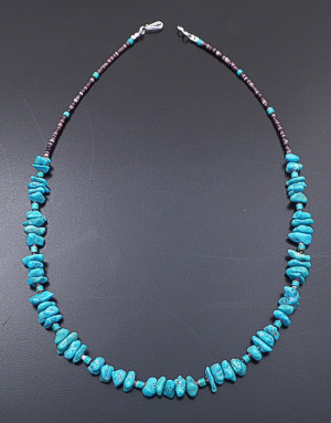 "Navajo - 18"" Turquoise Nugget & Shell Heishi Necklace #40524 $75.00"