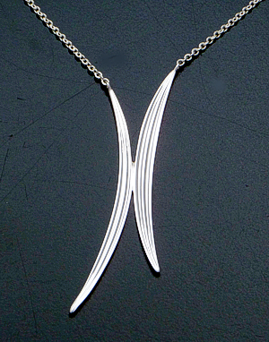 "Zina - 17"" Sterling Silver Chain & Double Narrow Leaf Pendant Necklace #40847 $150.00"