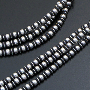 "Marilyn Platero & Geneva Apachito (Navajo) - 18"" to 21.5"" Triple Strand 5mm & 4mm Mixed Burnished Sterling Silver Bead Necklace #40907 $450.00"