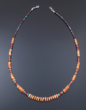 "Susan Teller (Navajo) - 18"" Graduated Orange Shell & Multistone Bead Necklace #41484 $95.00"