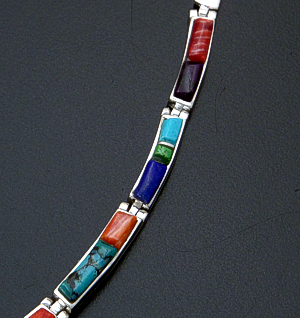 "Supersmith Inc. - David Rosales Designs - 18"" Indian Summer Cobble Inlay & Sterling Silver Lined Bracket Link Necklace #41626 Item 4 Style N111C $795.00"