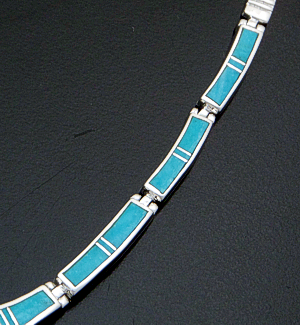 "Supersmith Inc. - David Rosales Designs - 18"" Arizona Blue Inlay & Sterling Silver Bracket Link Necklace #41629 Item 5 Style N110 $690.00"