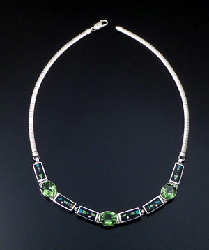 "Supersmith Inc. - David Rosales Designs - 16"" Twilight Arrow Inlay, Peridot, & Sterling Silver Omega Panel Necklace #41630 Item 3 Style N0543G $1,140.00"