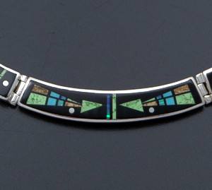 "Supersmith Inc. - David Rosales Designs - 17"" Twilight Arrow Inlay & Sterling Silver Omega Panel Necklace #41630 Item 4 Style N055M $925.00"