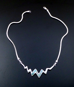"Supersmith Inc. - David Rosales Designs - 16"" Amazing Light Inlay & Sterling Silver Lightning Necklace #41631 Item 8 Style N673 $345.00"