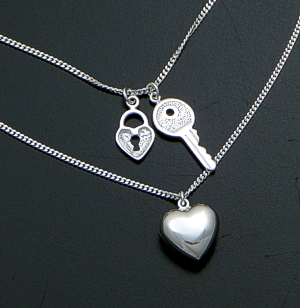 "Key To Her Heart - 18"" Sterling Silver Double Strand Necklace #41650 $60.00"
