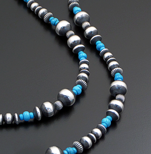 "Marilyn Platero (Navajo) - 36"" Turquoise & Mixed Burnished Sterling Silver Bead Necklace #41727 $525.00"