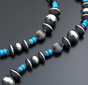 "Marilyn Platero (Navajo) - 36"" Turquoise & Mixed Burnished Sterling Silver Bead Necklace #41728 $660.00"