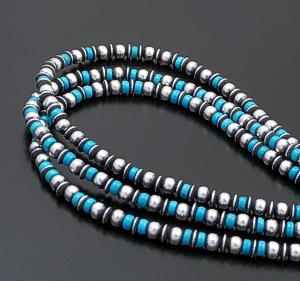 "Marilyn Platero & Geneva Apachito (Navajo) - 18"" to 21.5"" Triple Strand Turquoise & 5mm Mixed Burnished Sterling Silver Bead Necklace #41762 $450.00"