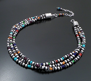 "Marilyn Platero & Geneva Apachito (Navajo) - 18"" to 21.5"" Triple Strand Multistone & Mixed 6mm Burnished Sterling Silver Bead Necklace #41767 $525.00"