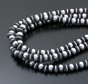 "Marilyn Platero & Geneva Apachito (Navajo) - 18"" Triple Strand Mixed 7mm Burnished Sterling Silver Bead Necklace #41863 $520.00"