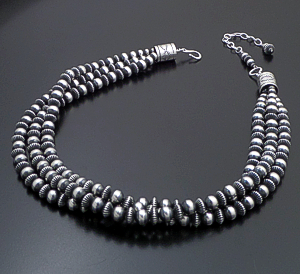 "Marilyn Platero & Tsosie Orville White (Navajo) - 18"" Triple Strand Mixed 8mm Burnished Sterling Silver Bead Necklace #41864 $750.00"