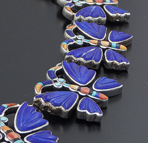 "Federico - 19"" Lapis Lazuli & Multistone Inlay Sterling Silver Butterfly Necklace #42150 $4,800.00"