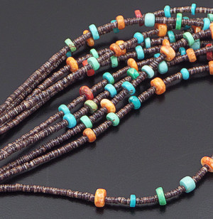 "Navajo - 30"" Five Strand Multistone Rondelle & Shell Heishi Necklace #42309 $550.00"