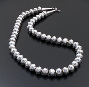 "Jeffrey Nelson (Navajo) - 24"" Handmade Stamped 13mm Sterling Silver Bead Necklace #42376 $690.00"