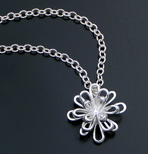 "Zina - 18"" Sterling Silver Ribbon Fireworks Pendant Necklace #42849 $195.00"