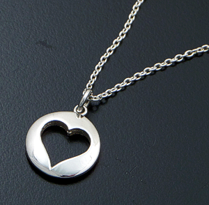 "Zina - 16""-18"" Sterling Silver Heart Token Pendant Necklace #42856 $100.00"