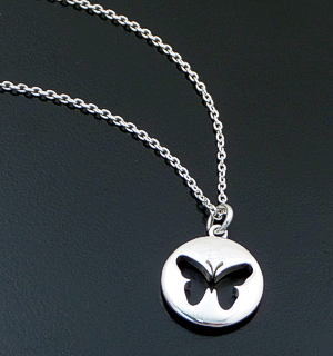 "Zina - 16""-18"" Sterling Silver Butterfly Token Pendant Necklace #42857 100.00"