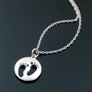"Zina - 16""-18"" Sterling Silver Footprints Token Pendant Necklace #42864 $100.00"