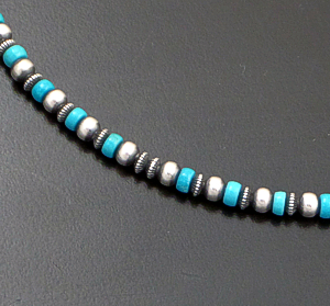 "Marilyn Platero (Navajo) - 16"" Turquoise & 4mm Burnished Sterling Silver Bead Necklace #42947 $125.00"