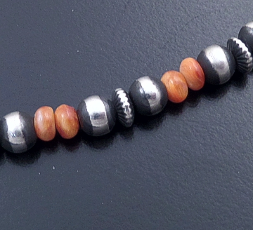 "Marilyn Platero (Navajo) - 20"" Multistone & 5mm Burnished Sterling Silver Bead Necklace #42956 $175.00"