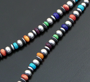 "Marilyn Platero (Navajo) - 16"" Multistone & 5mm Burnished Sterling Silver Bead Necklace #42958 $160.00"