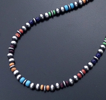 "Marilyn Platero (Navajo) - 16"" Multistone & 5mm Burnished Sterling Silver Bead Necklace #42959 $160.00"