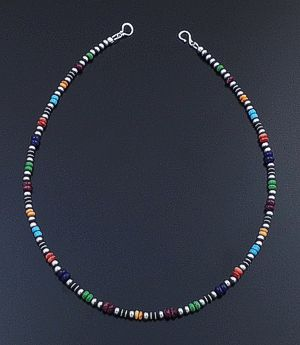 "Marilyn Platero (Navajo) - 18"" Multistone & 4mm Burnished Sterling Silver Bead Necklace #42964 $150.00"