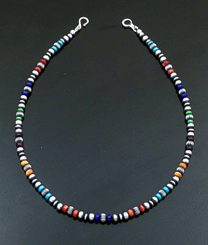 "Marilyn Platero (Navajo) - 16"" Multistone & 5mm Burnished Sterling Silver Bead Necklace #42972 $150.00"