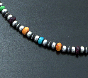 "Marilyn Platero (Navajo) - 16"" Multistone & 4mm Burnished Sterling Silver Bead Necklace #42974 $140.00"