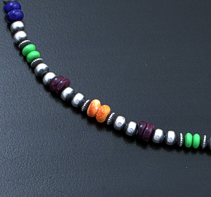 "Marilyn Platero (Navajo) - 16"" Multistone & 4mm Burnished Sterling Silver Bead Necklace #42975 $140.00"