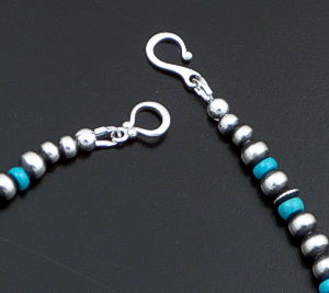 "Marilyn Platero (Navajo) - 18"" Turquoise & 5mm Burnished Sterling Silver Bead Necklace #42987 $150.00"