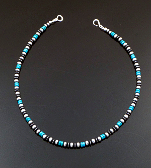 "Marilyn Platero (Navajo) - 16"" Turquoise & 5mm Burnished Sterling Silver Bead Necklace #42991 $140.00"
