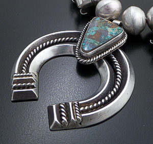 "Navajo - 26"" Kingman Turquoise & Satin Finished Sterling Silver Squash Blossom Necklace #43122 Item 6 $1,230.00"