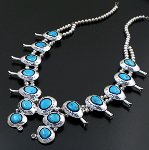 "Teddy Goodluck (Navajo) - 25"" Turquoise & Sterling Silver Shadowbox Squash Blossom Necklace #43122 Item 7 $2,400.00"