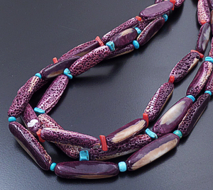 "Santo Domingo - 27"" Three Stand Oval Purple Shell & Mixed Accent Bead Necklace #43199B $597.00"