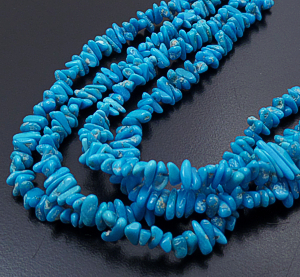 "Helen Tsosie (Santo Domingo) - 18"" to 20"" Four Strand Sleeping Beauty Turquoise Chip Bead Necklace #43201A $475.00"