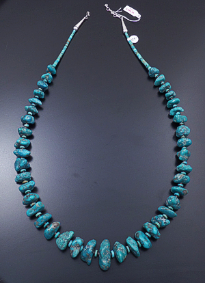 "Santo Domingo - 30"" to 32"" Large Teal Blue Turquoise Nuggets & Heishi Necklace #43201C $429.00"