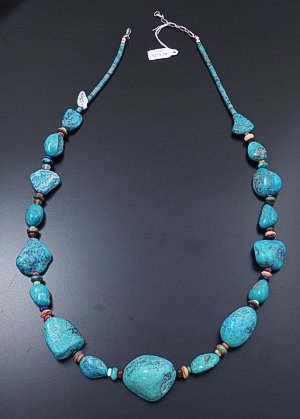 "Santo Domingo - 28"" to 30"" Large Blue Turquoise Nuggets & Heishi & Multistone Bead Necklace #43202A $399.00"