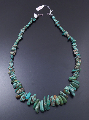 "Santo Domingo - 23"" Large Graduated Green Turquoise Nugget Necklace #43203D $369.00"