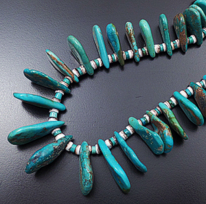 "Helen Tsosie (Santo Domingo) - 28"" to 30"" Graduated Green Turquoise Tabs & Shell Heishi Necklace #43203F $400.00"