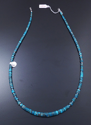 "Kevin Garcia (Santo Domingo) - 23"" Tapered Blue Turquoise Heishi & Sterling Silver Bead Necklace #43203F $369.00"